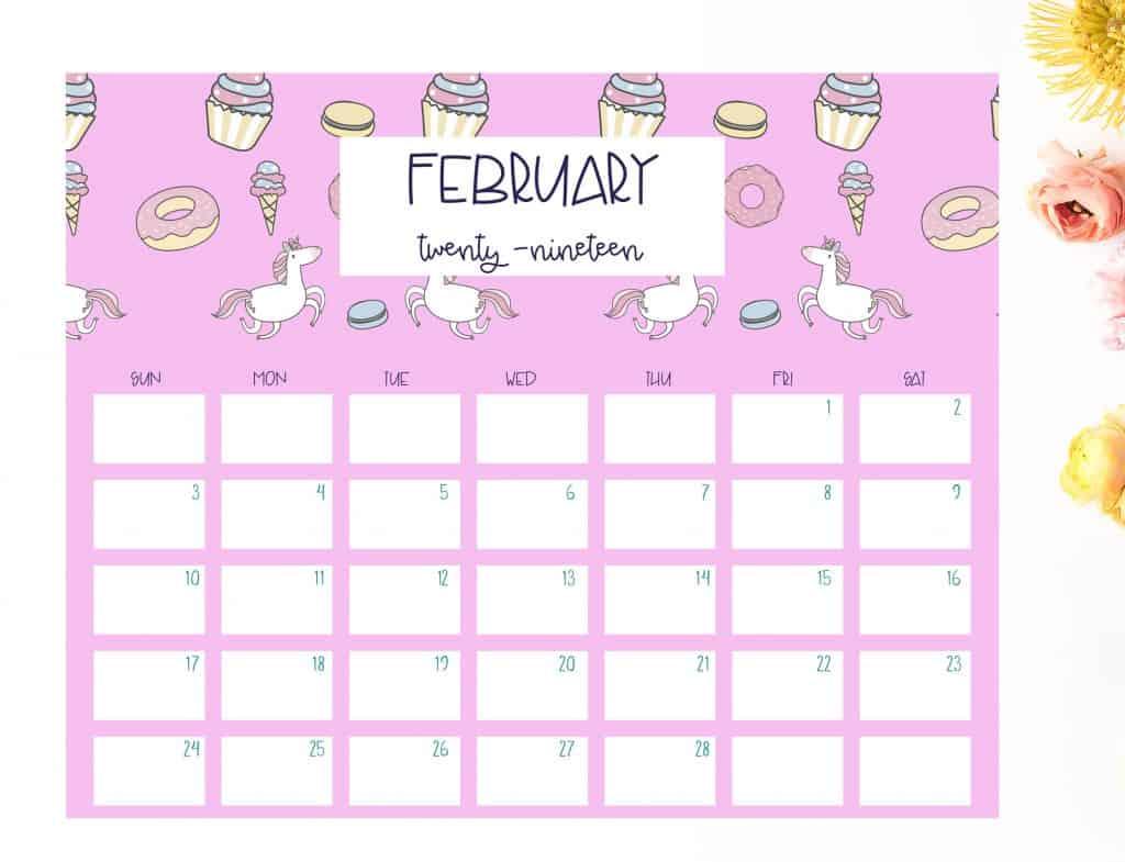 2019 calendar unicorn february