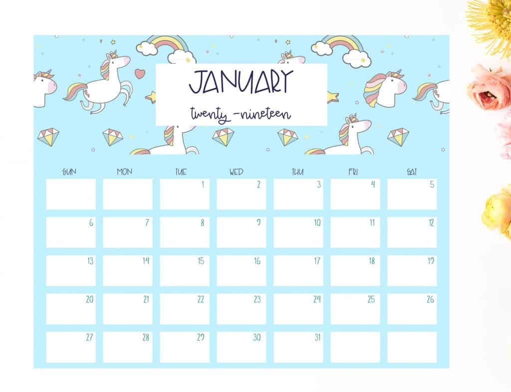 Free 2019 unicorn calendar - Shabby Mint Chic Party