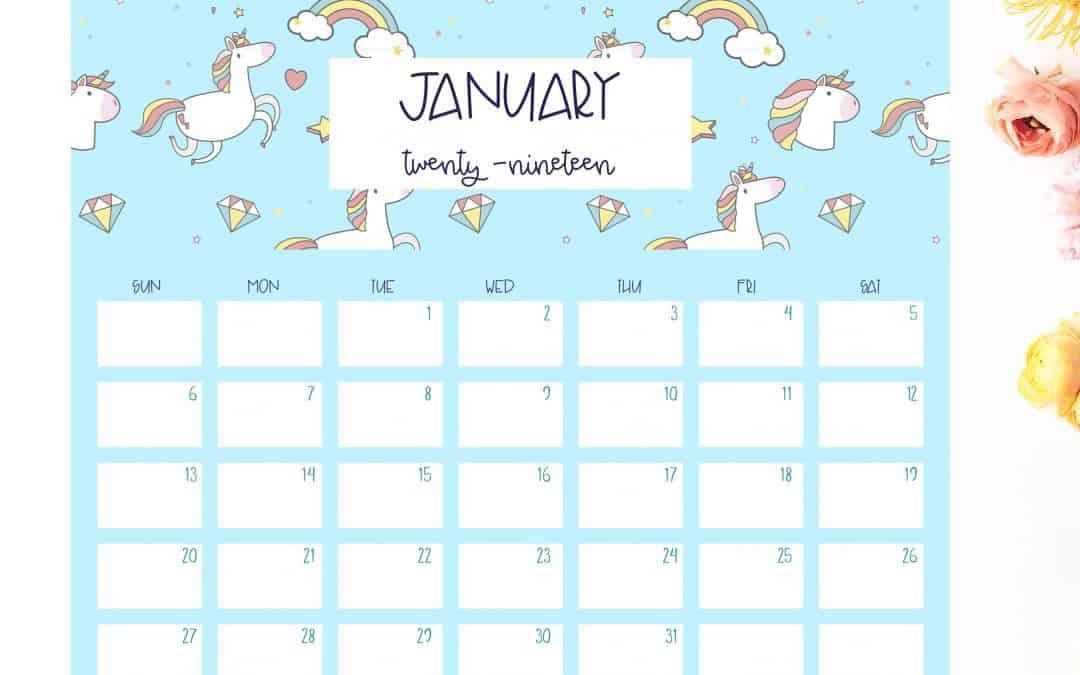 Free 2019 unicorn calendar