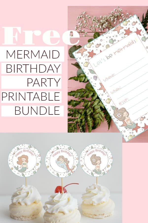 FREE MERMAID BIRTHDAY PARTY PRINTABLES. FREE MERMAID BIRTHDAY PARTY CUPCAKE TOPPERS, INVITATION, NOTE, THANK YOU GIFT TAG PRINTABLES