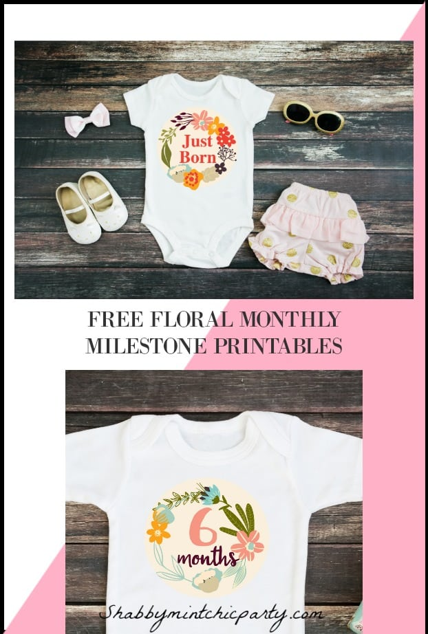 floral baby monthly milestone printables