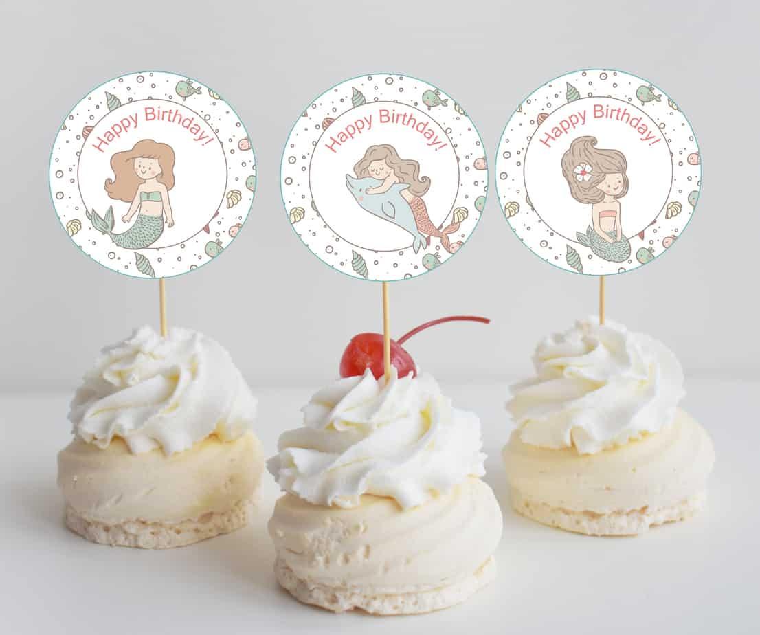 free mermaid birthday party printables - mermaid cupcake mockup 3 cupcakes-01