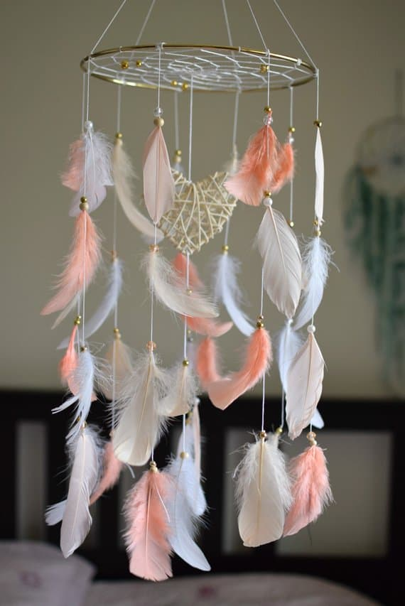 Mobile gifts for new baby girl - dreamcatcher mobile