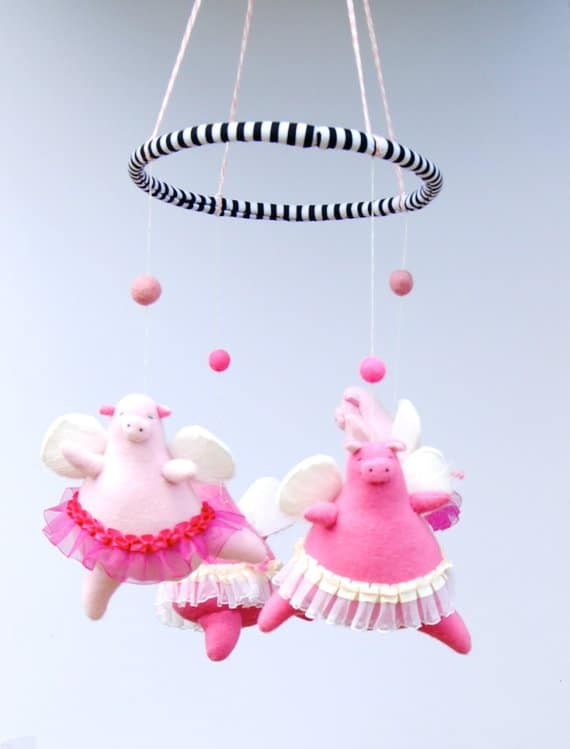 mobile gifts - angelic ballerina pigs