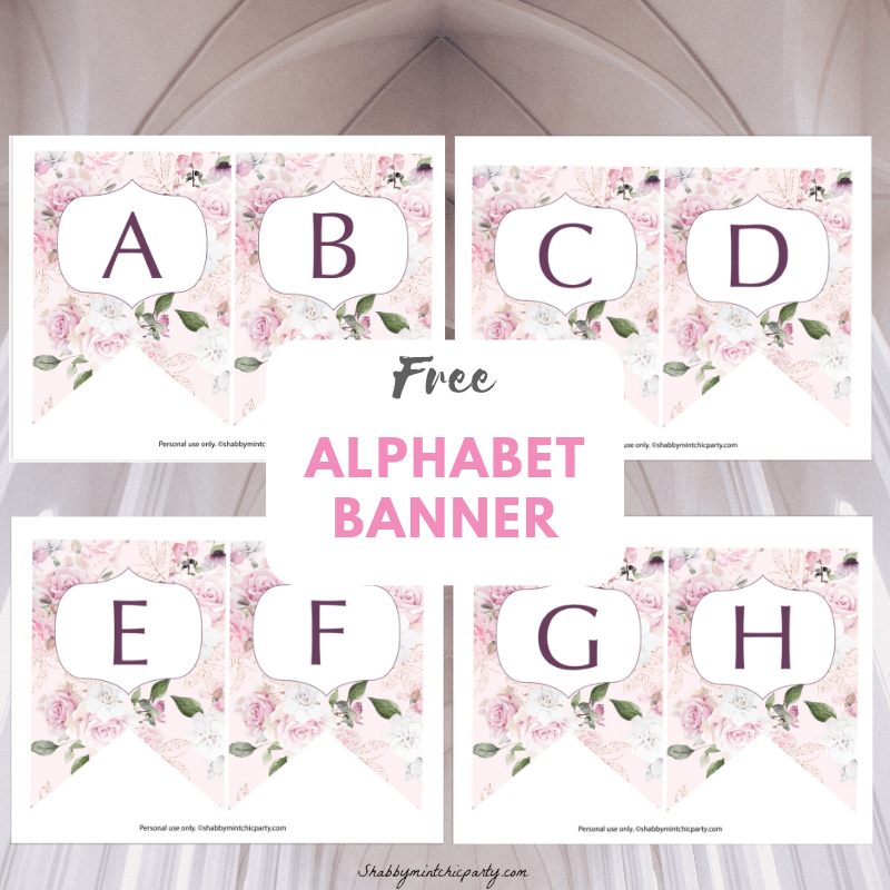 graphic regarding Printable Banners named Totally free Printable: Rose Alphabet Banner - Shabby Mint Stylish Social gathering