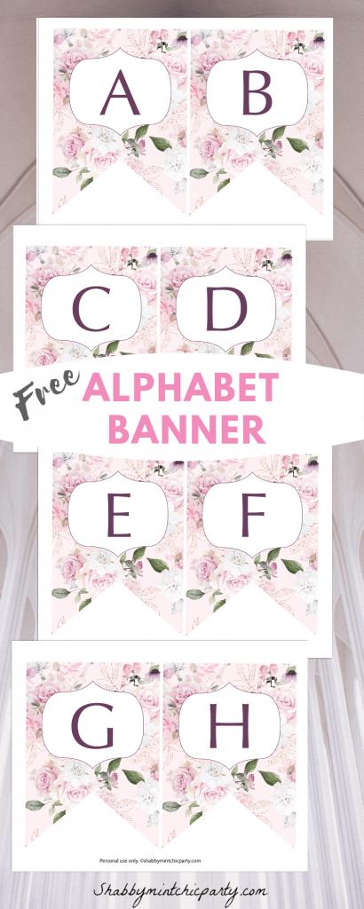 rose alphabet banner printable