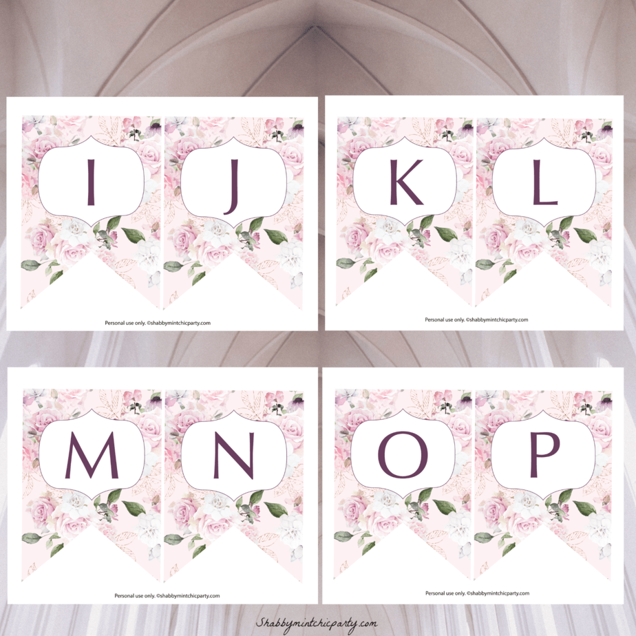 photograph regarding Printable Alphabet Banner named Totally free Printable: Rose Alphabet Banner - Shabby Mint Stylish Occasion