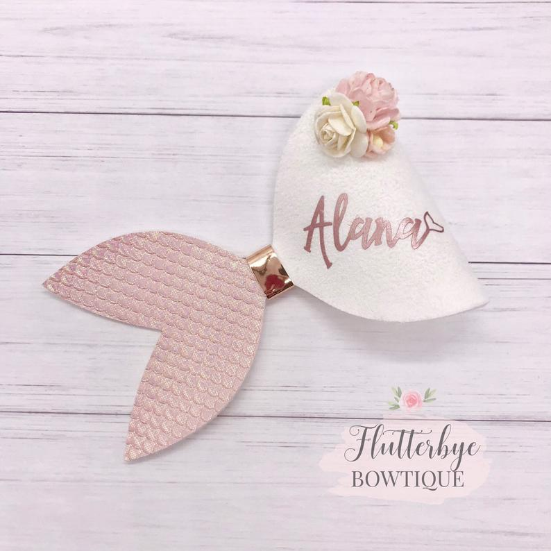Mermaid personalized bow by Flutterbye Bowtique