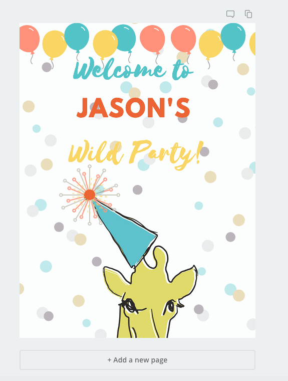 personalized printables confetti giraffe sign