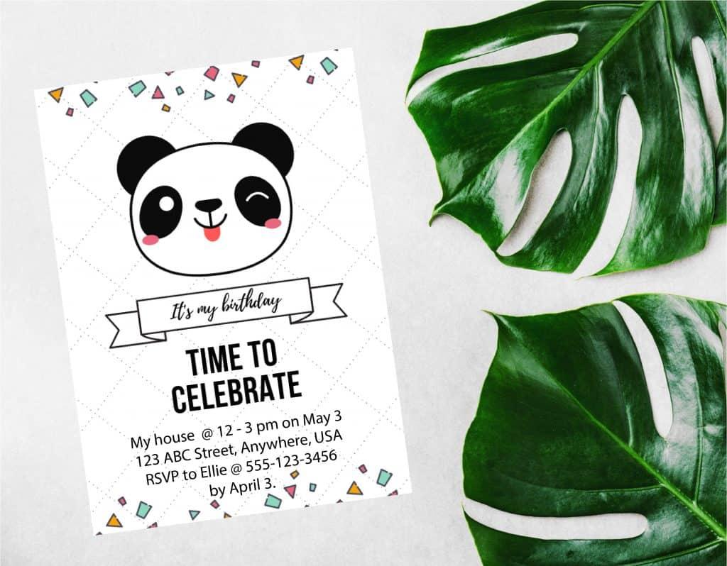 panda invitation tempate