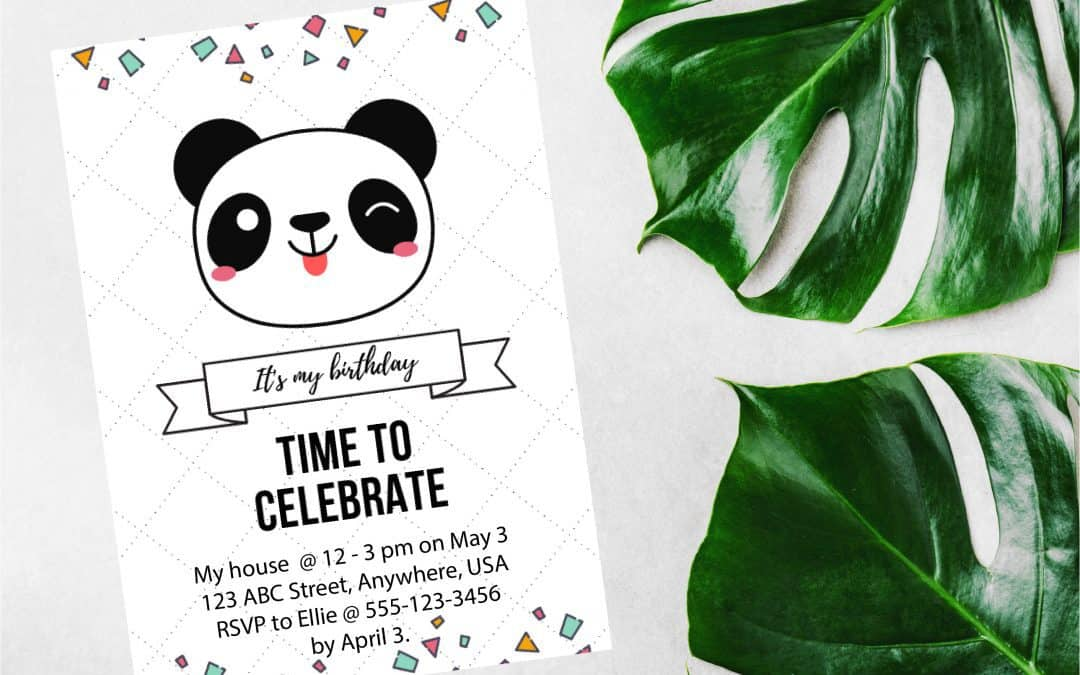 Free Panda Party Invitation template + Video Tutorial