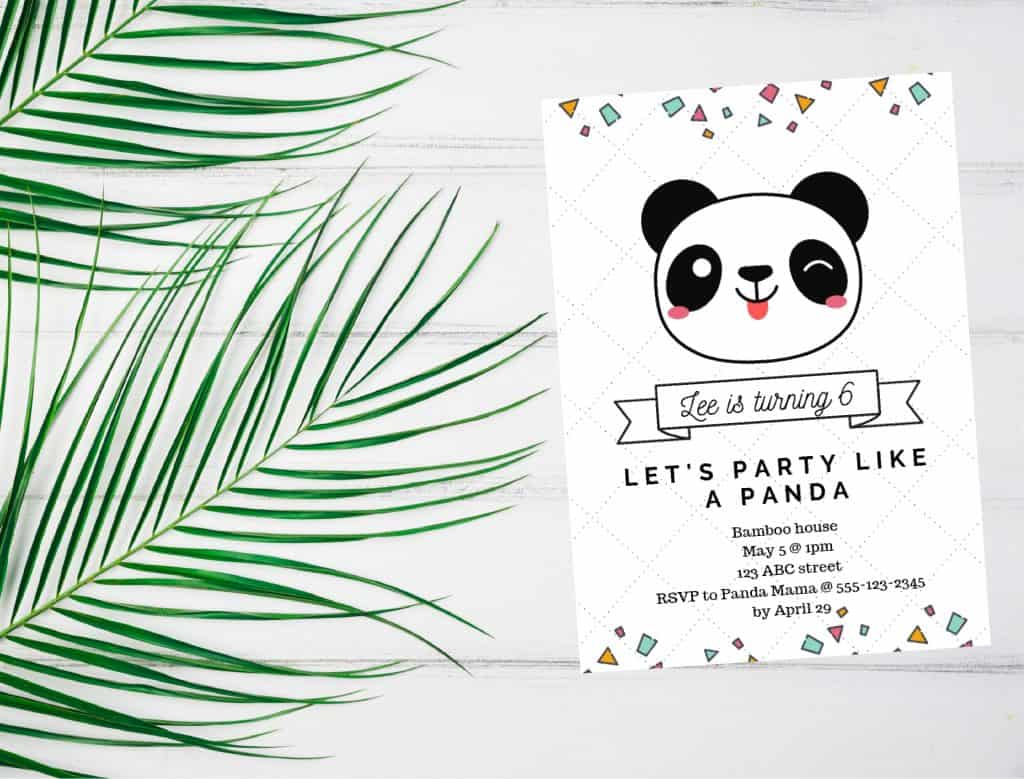panda party invitation sample