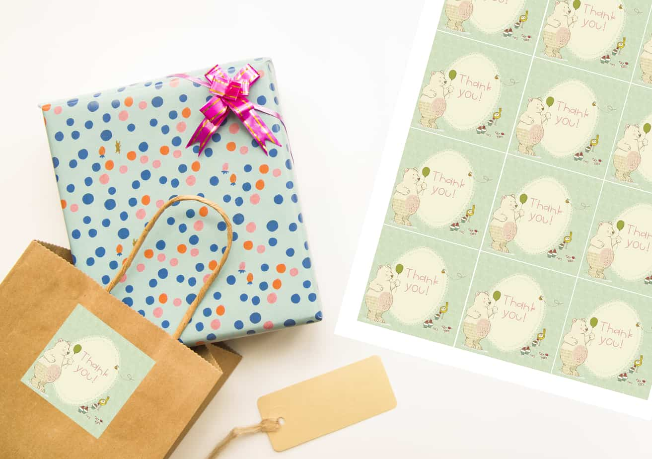 bear and friend gift tags on bag