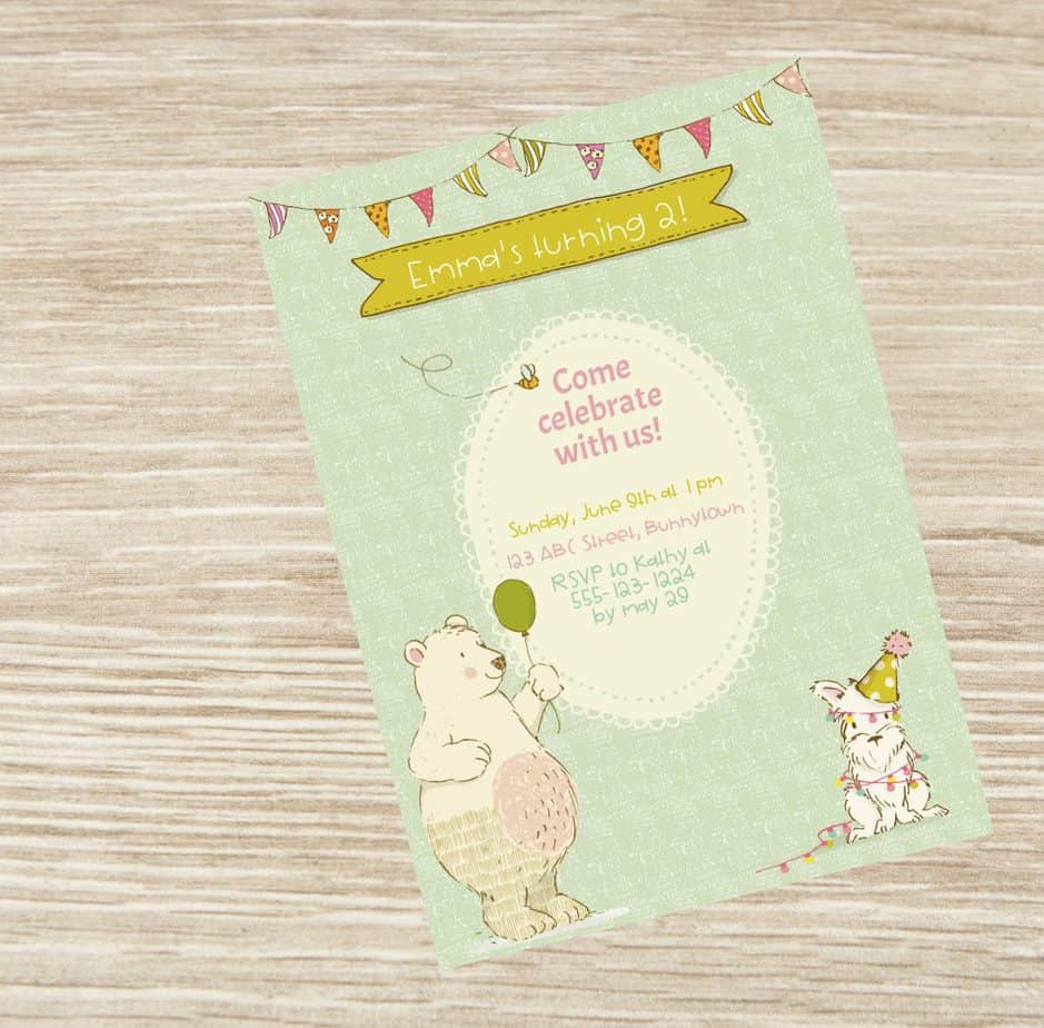 bear and friends party invitation