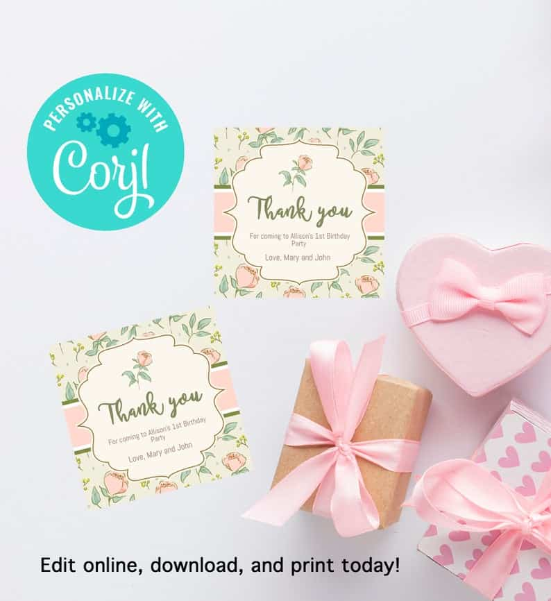 Floral Shabby Chic thank you gift tag first birthday