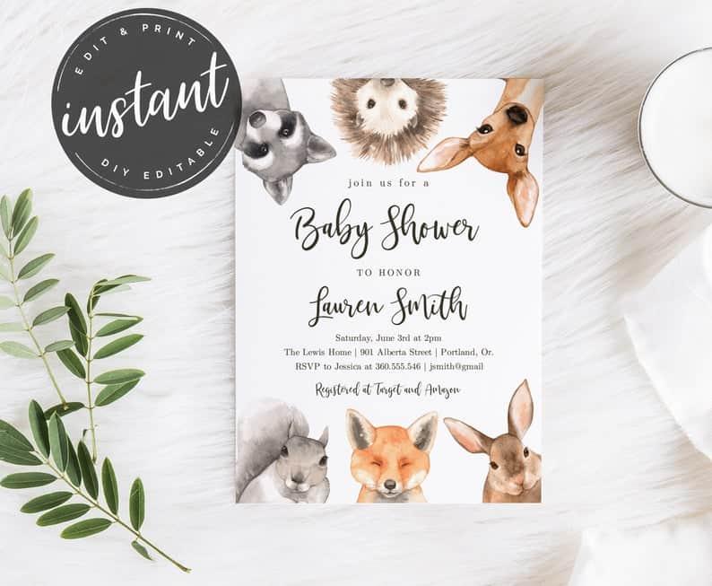 Gender Neutral Woodland Baby Shower Invitation 1