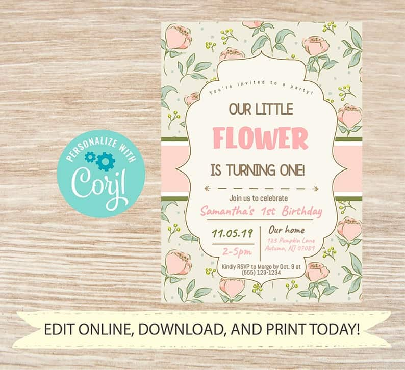 Shabby chic floral invitation by Shabby Mint Chic Party