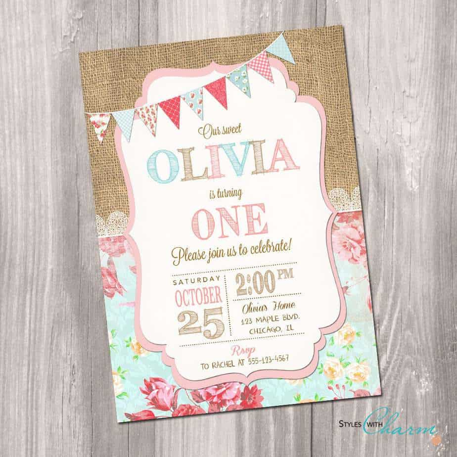 first birthday party invitation 2