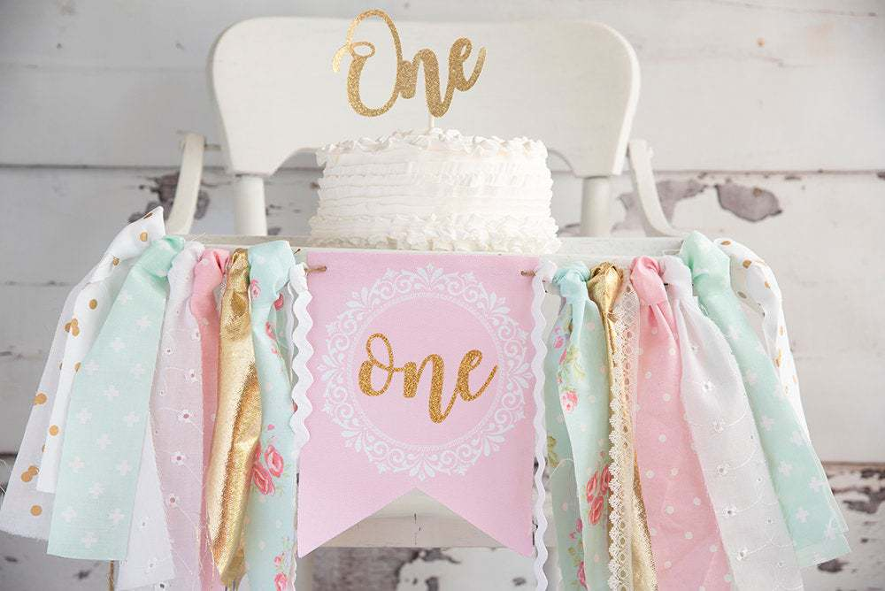 First Birthday party one high chair banner