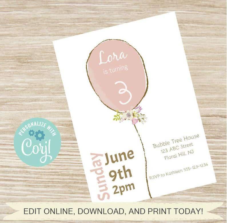 shabby chic balloon birthday invite