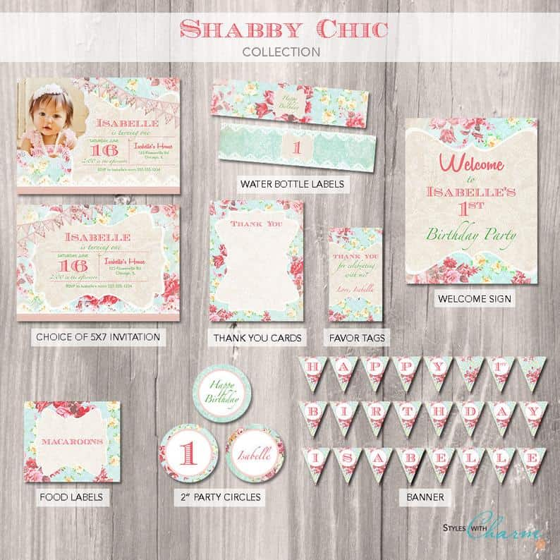 shabby chic birthday party package