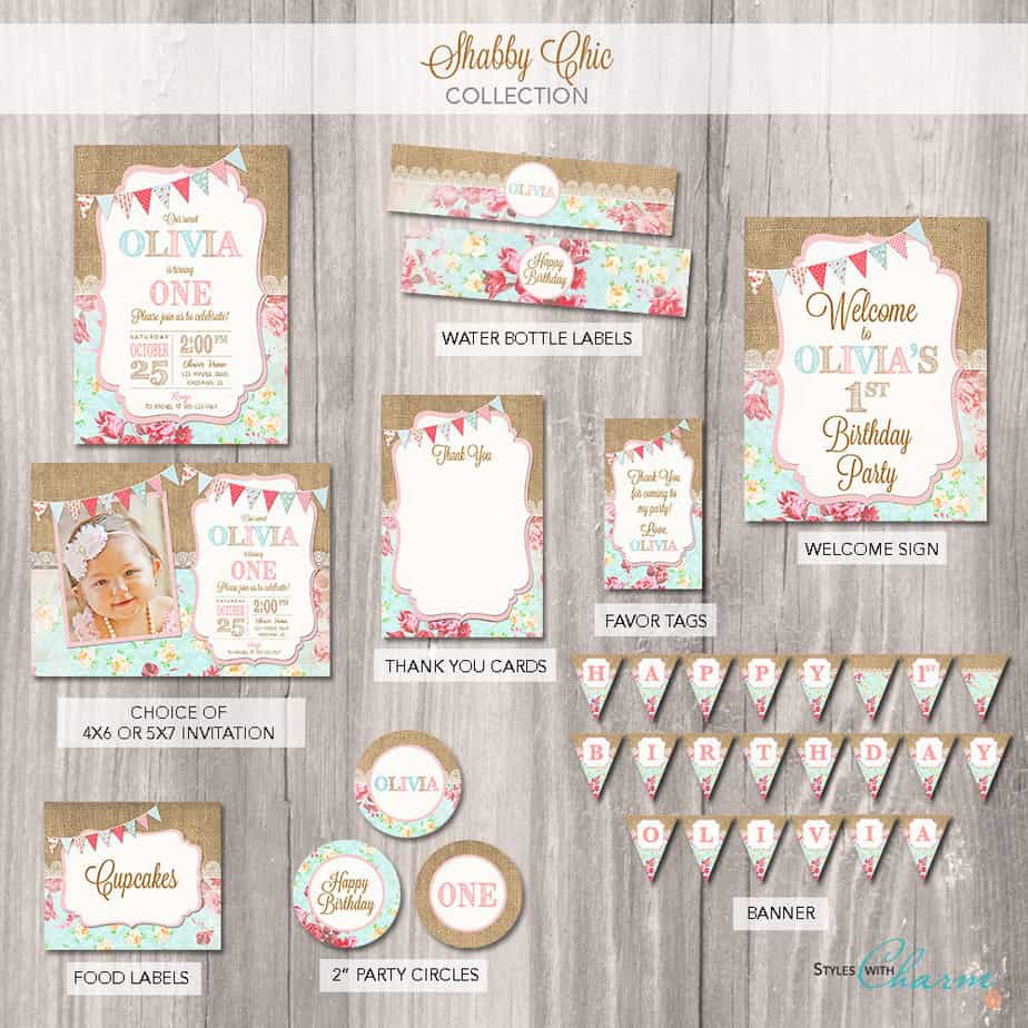 shabby chic first birthday printable package
