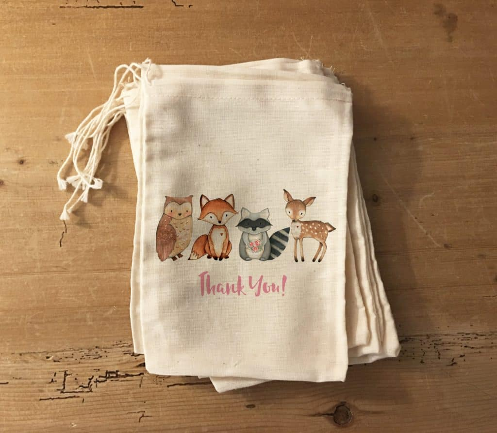 woodland party favor bags