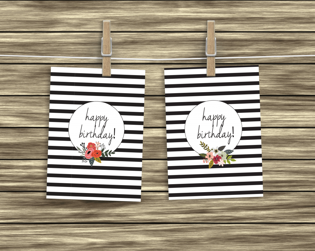 Free black and white birthday cards
