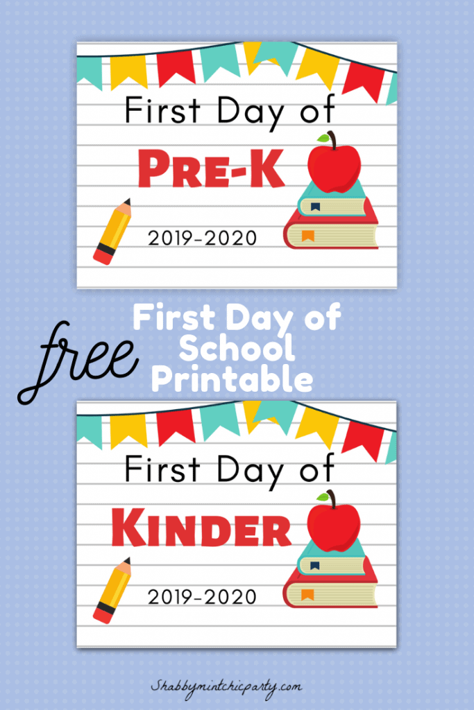 First day of school printable pinterest