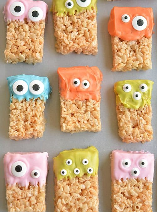 Halloween Treat Rice Krispie Treat Monsters