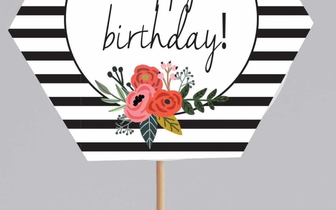 FREE black and white cupcake toppers printables