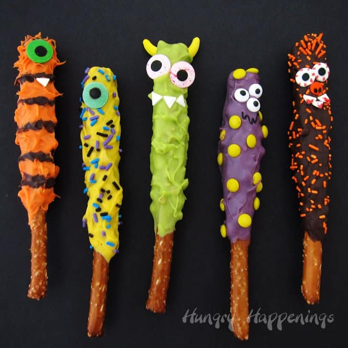 Halloween Treat Chocolate caramel Pretzel monsters