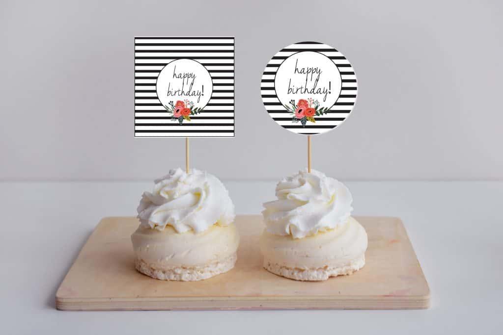 modern floral cupcake mock