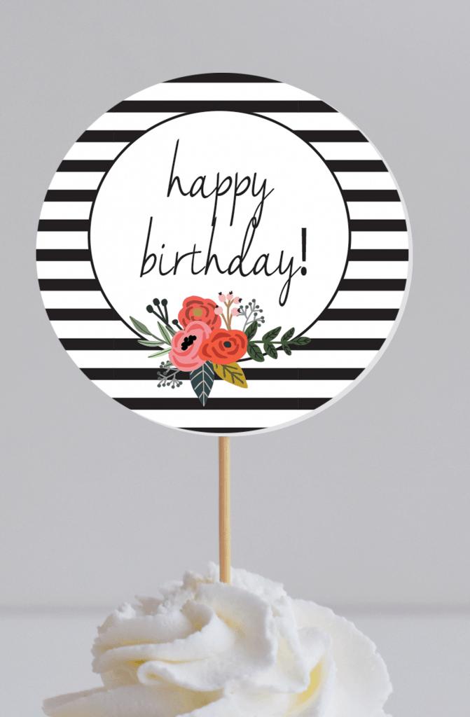 modern floral cupcake topper circle mock
