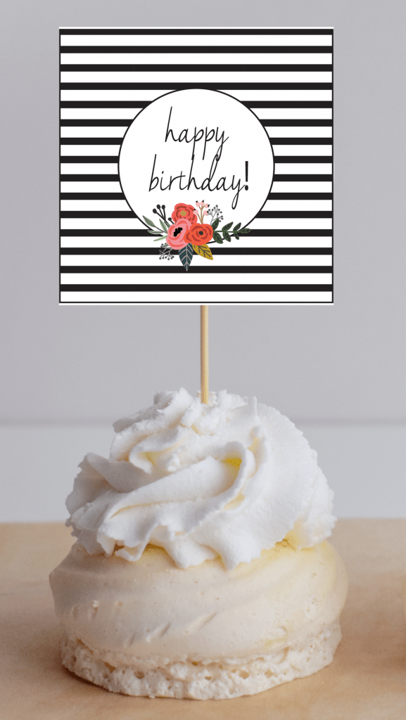 modern floral cupcake topper square