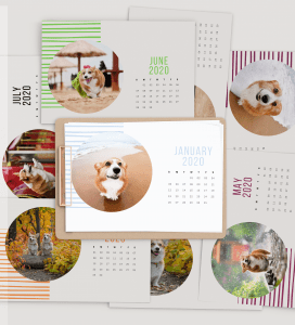 2020 Printable Calendar Corgi Mock