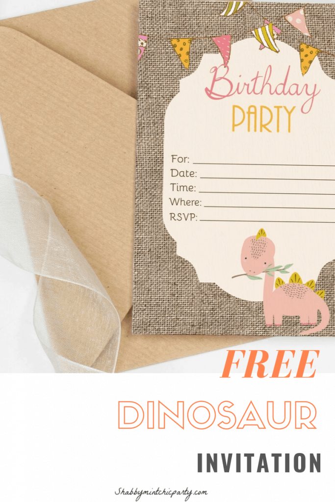 shabby chic dinosaur invitation freebie. Perfect for a lovely dinosaur themed first birthday or any age. #dinosaurparty #dinoparty #dinosaurinvitation #dinosaurinvite #diypartyinvitation #dinosaurprintable #partyprintable www.shabbyminchicparty.com