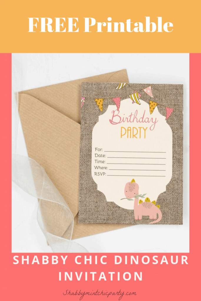 free shabby chic dinosaur invitation for first dinosaur's birthday or any age really. Simple DIY invitation. Just download, print, fill out, and send.