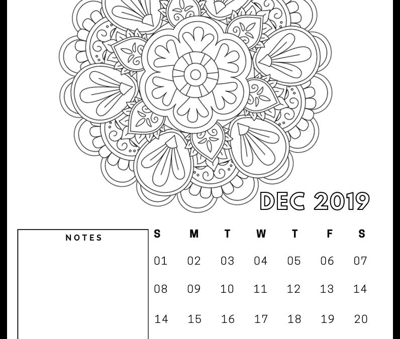 FREE 2019 Monthly Mandala calendar