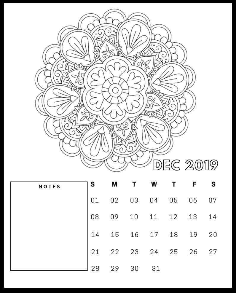 FREE 2019 mandala december calendar