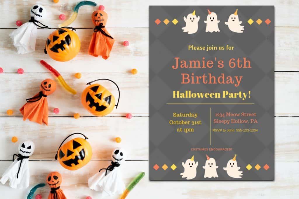 Halloween invitation cute ghosts printable mock