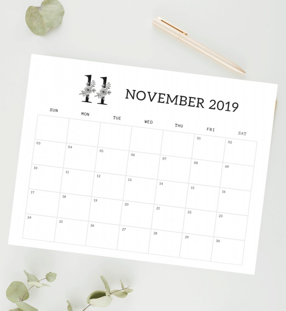 black and white floral november calendar