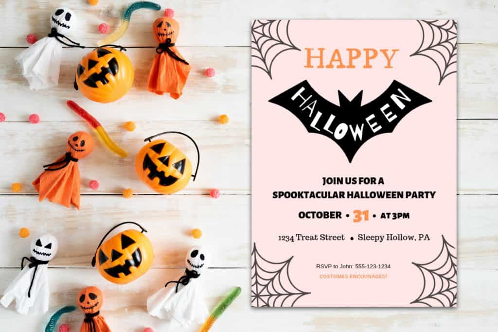 halloween bat invitation printable m