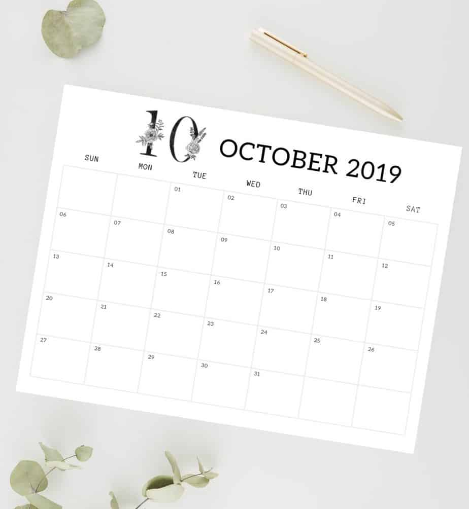 black and white floral monthly calendar. october 2019 calendar