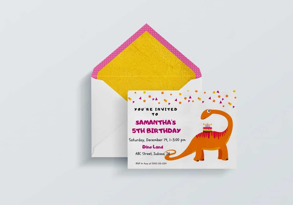 free dinosaur party invitation orange dinosaur using CAnva