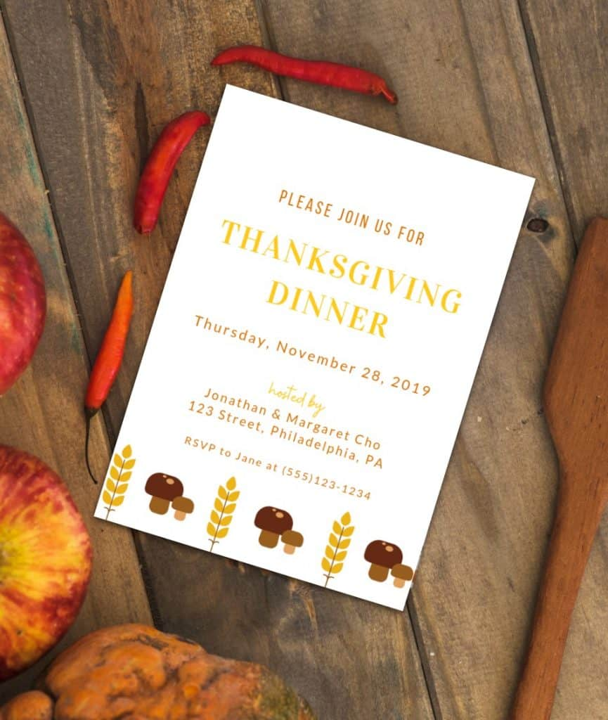 free Thanksgiving intiation template for Canva - Mushroom design