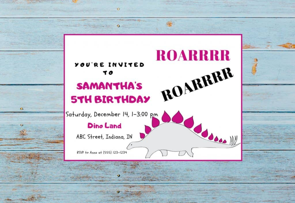 dinosaur invitation template roar