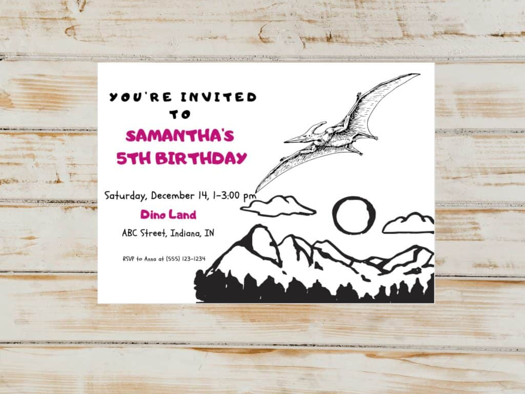 flying dinosaur birthday party invitation canva template. Easily modify for any occasion using canva.