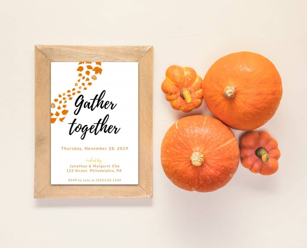 Free thanksgiving invitation template gather together for Canva