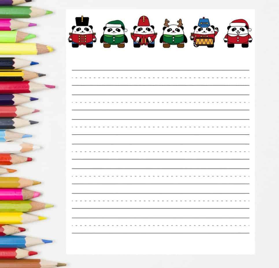 letter to santa paper pandas